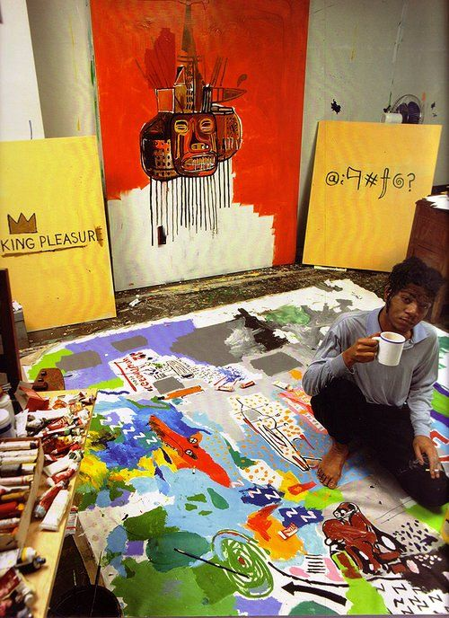 Jean-Michael Basquiat in his studio.