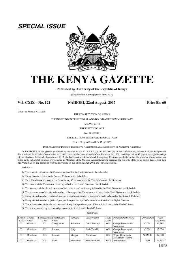 [4895  SPECIAL ISSUE  THE KENYA GAZETTE  Published by Authority of the Republic of Kenya  (Registered as a Newspaper at the G....