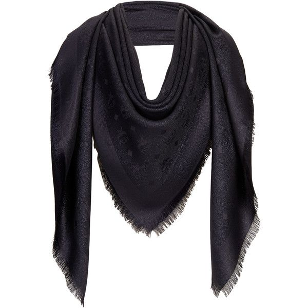 MCM Monogram New Lurex Scarf (€335) ❤ liked on Polyvore featuring accessories, scarves, monogram shawl, monogrammed scarves, mcm and woven scarves