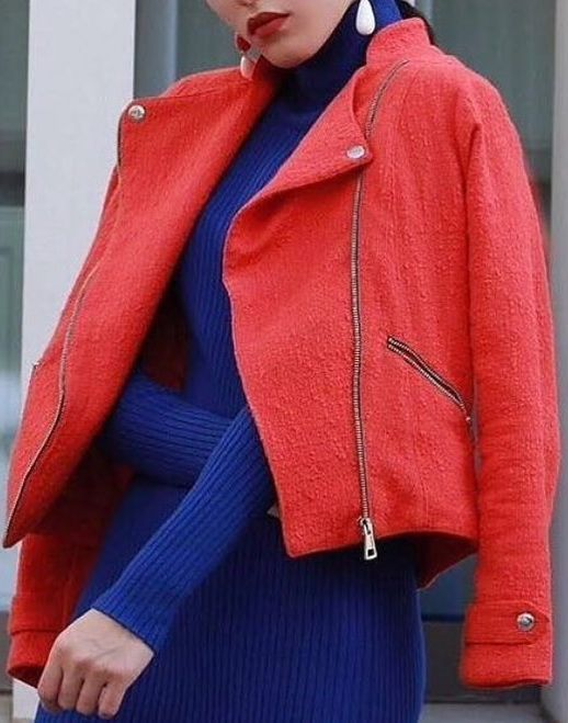 #winter #fashion Cobalt stretch dress with tweed coral jacket