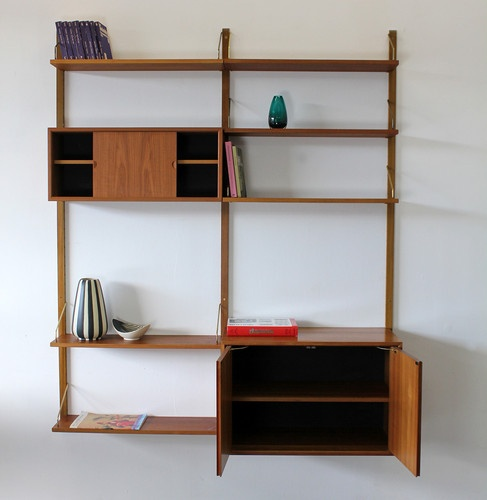 poul cadovius teakwood wall unit w shelves 60s teak regal royal system 60er ebay design. Black Bedroom Furniture Sets. Home Design Ideas