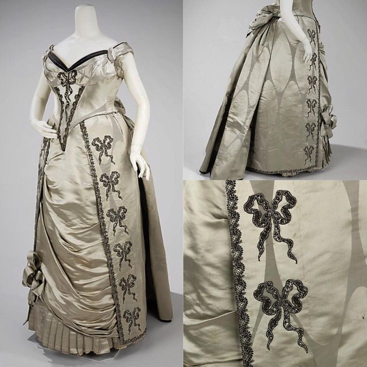 An opulent frock to wear while ringing in the new year! This evening dress from 1888 was designed by the House of Worth and is constructed of silk and metal embellishments. It consists of a full-blown bustle silhouette and love knot motifs. It is from the Brooklyn Museum Costume Collection at The Metropolitan Museum of Art.