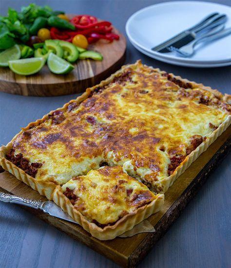 Lättlagad tacopaj med färs och krämigt osttäcke. Gott att servera pajen med sallad, nachochips, gräddfil och guacomole. 6 portioner Pajdeg: 3 dl mjöl 150 g smör 2 msk kallt vatten 0,5 tsk salt Fyllning: 500 färs (kött- eller veggofärs) 1 gul lök 1 liten burk tacosalsa (ca 230 g, kan ersättas med 1 burk krossad tomat) 1 påse tacokrydda eller 2 msk egen mix- recept HÄR! Olja till stekning Topping: 2,5 dl creme fraiche 2 dl riven ost Gör såhär: Pajdegen: Blanda mjöl och smör snabbt i en bunke…