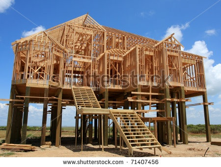 Stock photo new house on stilts under construction - When building a house ...