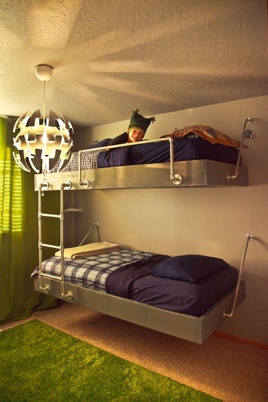 Floating industrial bunk beds, diy boy bedroom