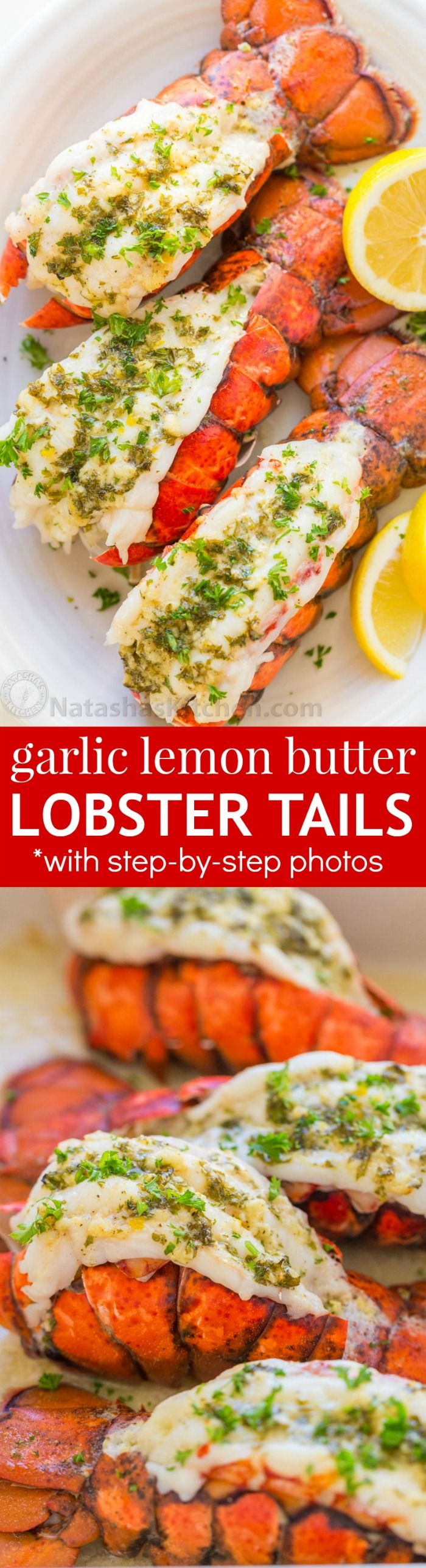 The ONLY Lobster Tails Recipe you'll need! Broiled lobster tails are juicy, flavorful, and quick to make! + How-To butterfly lobster tails photo tutorial! | natashaskitchen.com (garlic butter steak and potatoes)