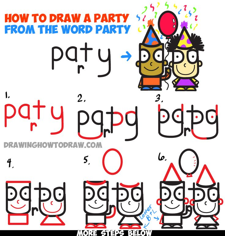 learn how to draw cartoon kids partying from the word party in simple step