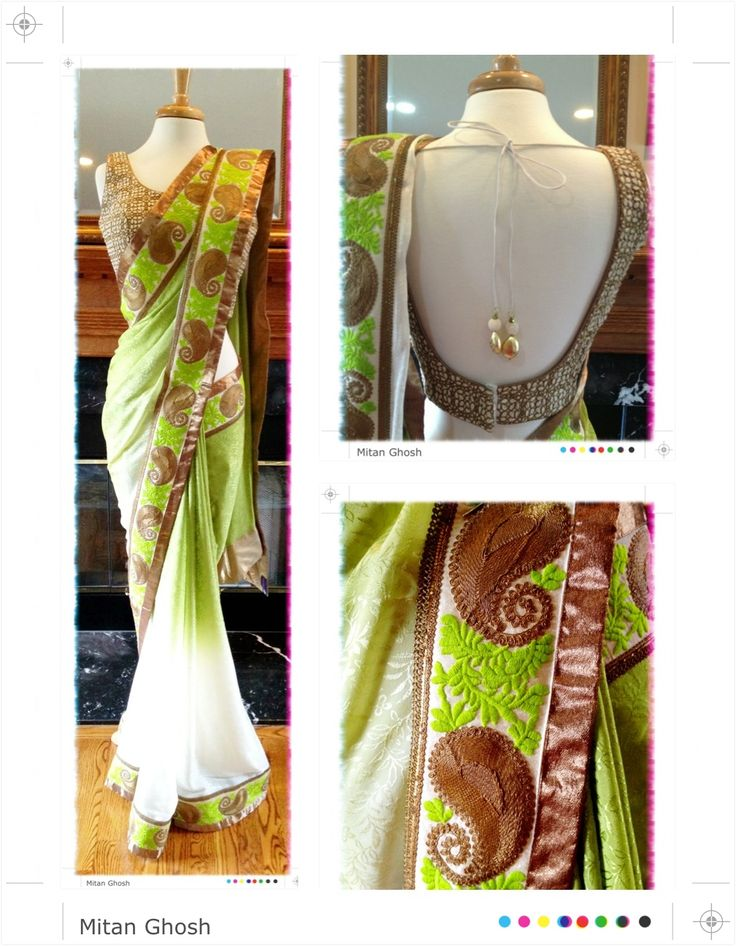 Shaded crepe saree with zari embroidered Lucknowi