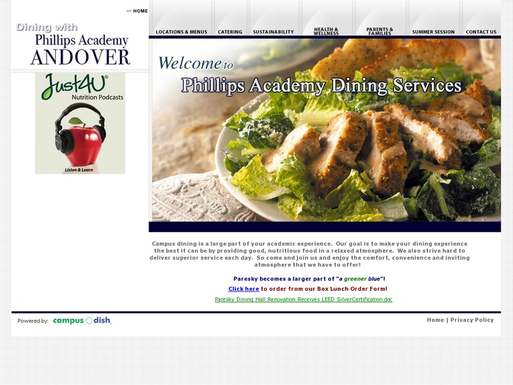 Phillips Academy Dining Services @ Campus Dish Phillips Academy - superior service application form