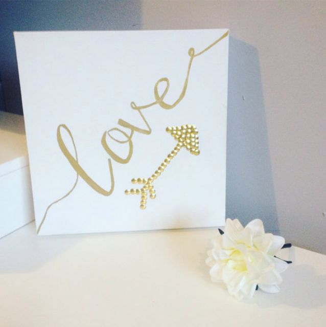 Gold love wall canvas. Studded arrow pin art. Wall decor. Gift for loved one