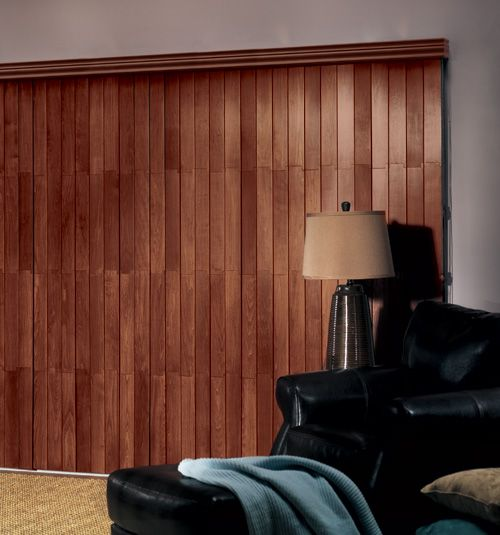 Bali Vertical Wood Blind in Saddle Brown with Traditional Valance