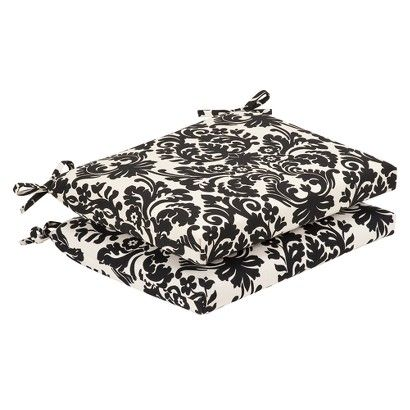 2 Piece Outdoor Seat Pad/Dining/Bistro Cushion Set   Black/White Floral