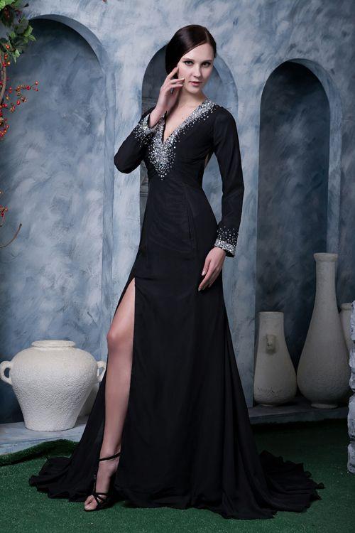 Schwarzes abendkleid lang mit armel