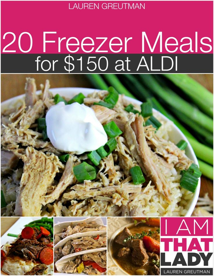 20 meals for $150 prepared in 3 hours! Gluten-free modifications included. Five other Aldi meal plans linked in post.