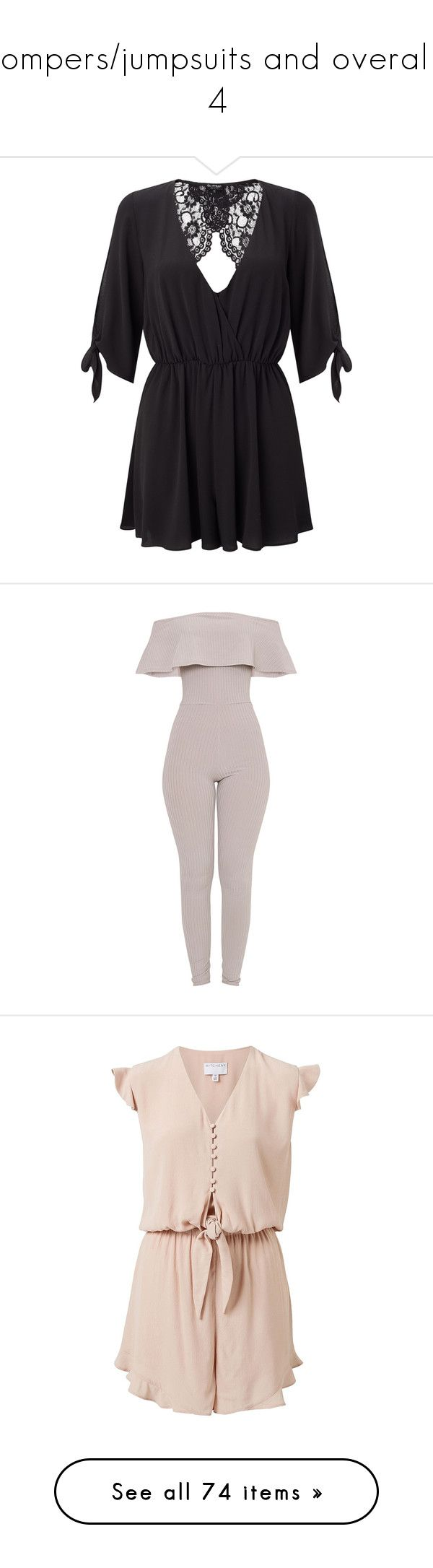 """""""Rompers/jumpsuits and overalls 4"""" by musicmelody1 on Polyvore featuring jumpsuits, rompers, petite, playsuit romper, long-sleeve romper, tie-dye rompers, v neck romper, miss selfridge, gray jumpsuits and ribbed jumpsuit"""
