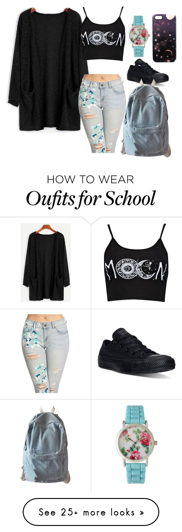 """""""Summer Outfit #1"""" by luvlybunny on Polyvore featuring Boohoo, Converse, WithChic, Nikki Strange, Olivia Pratt, Summer, outfit and Flowers"""