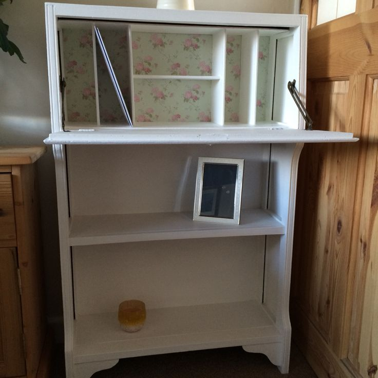 Pre-Loved Bureau, restored and painted in Annie Sloan 'pure' Chalk Paint and beautiful papered inner shelving.