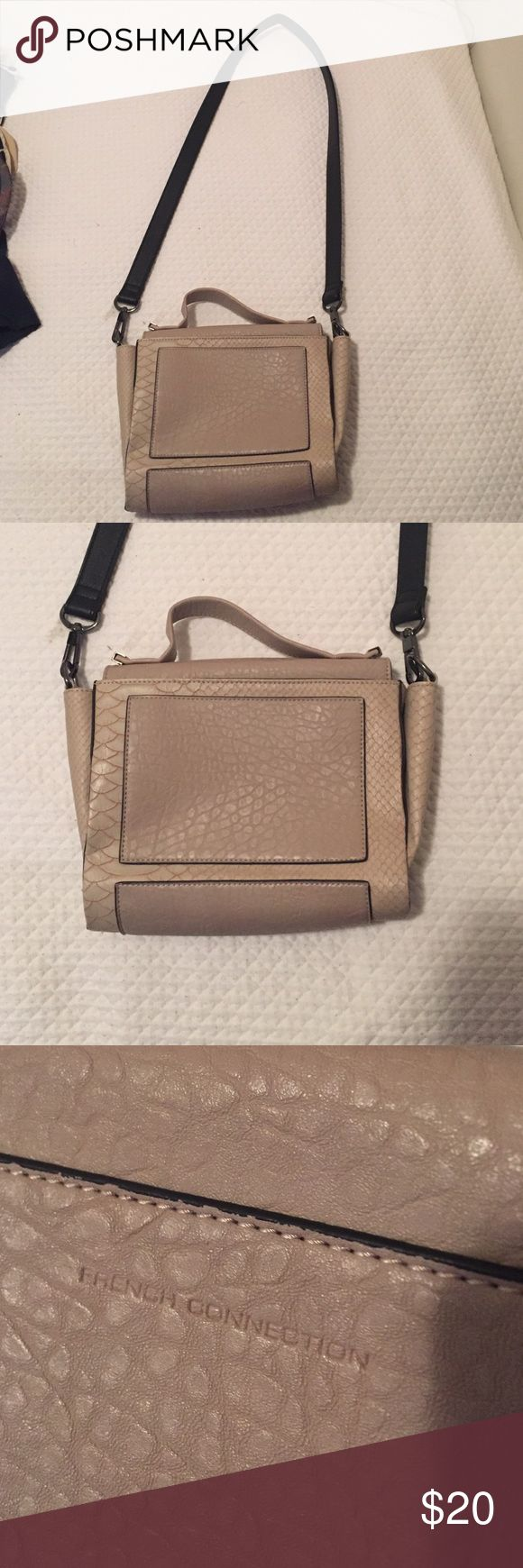 French Connection Purse Tan leather purse with snake skin detail and black strap - magnetic closure French Connection Bags Crossbody Bags
