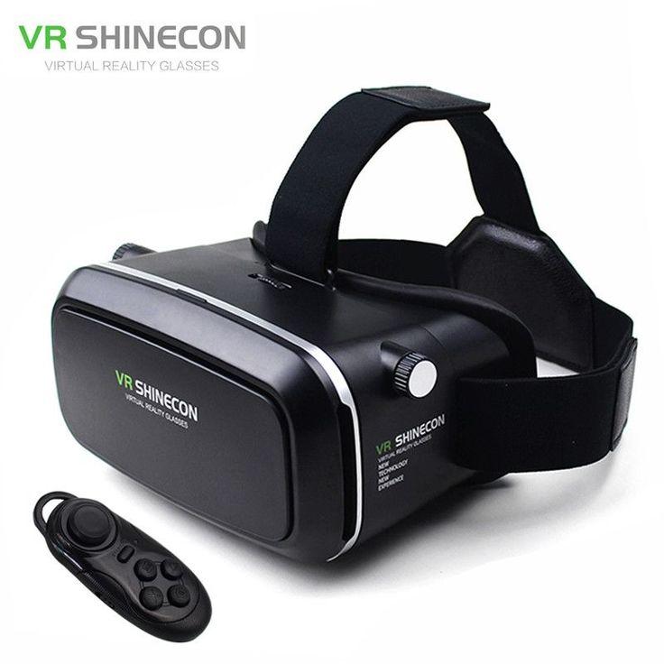 "VR Shinecon Virtual Reality 3D Movie Smartphone Game 3D Glasses Helmet 3 D VR Cardboard 4.7-6"" Smart Phone+ Bluetooth Controller"