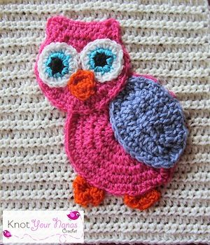 Owl Applique - $2.00 by Teri Heathcote of Knot Your Nana's Crochet  Owls Part 3 - Animal Crochet Pattern Round Up - Rebeckah's Treasures