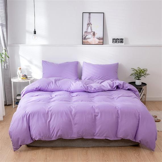 Duvet Cover Set Solid Bedding Microfiber Purple Bed Set Comforter Cover Pillowcase Soft Breathable Bedding Sets Minimalist Bedding In 2021 Purple Bedding Purple Bedding Sets Bed Comforter Sets