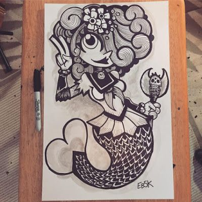 Sailor Mermaid commission for @errieache . 11x17 pencil, pen and Inkwash... Scan and color next! #eb5k #edbot5000 #sketch #sketchaday #sketchbook #drawing #drawmore #drawingoftheday #doodle #illustration #illustrations #illustrationoftheday #comics #halloween #ink #sharpie #wip #oc #commission #mermaid #cute