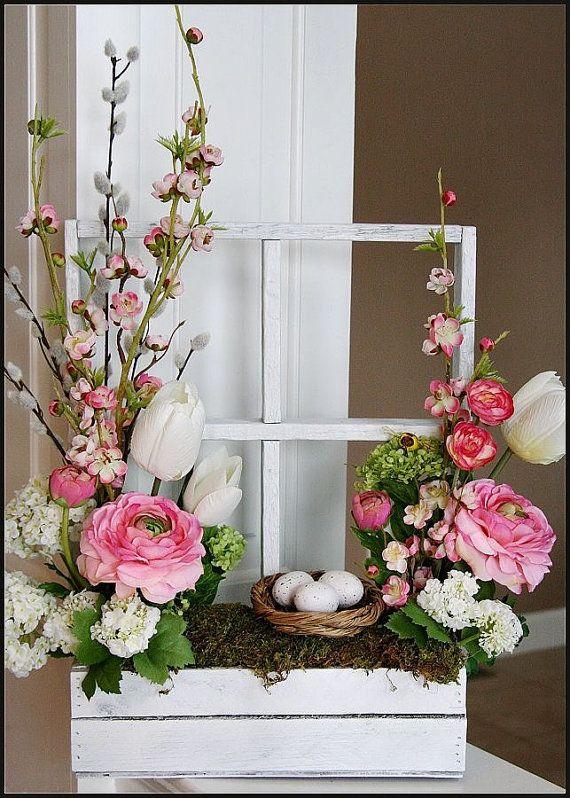 Spring floral arrangement by FloralByRoo on Etsy