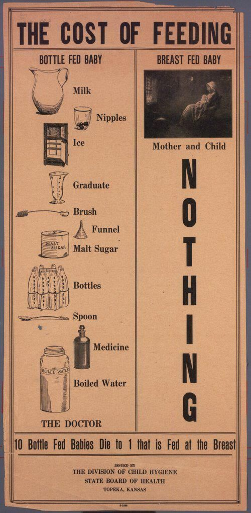 """#Borstvoeding Posters: """"The cost of feeding"""" c. 1920 from the Kansas State Board of Health"""