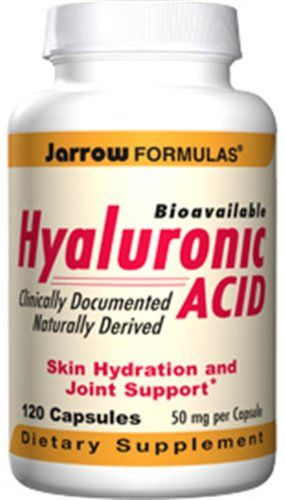 Jarrow Formulas - Hyaluronic Acid, 50 mg, 120 capsules. Hyaluronic Acid provides the fluid matrix for joint lubrication, skin hydration, and skin repair. It is clinically documented to be bioavailable and to improve hydration of the skin. Serving Size. Does Not Contain: wheat, gluten, soybeans, dairy, egg, fish/shellfish, peanuts/treenuts. 2 capsules. Jarrow FORMULAS Hyaluronic Acid is a low-molecular weight preparation derived from biological fermentation.