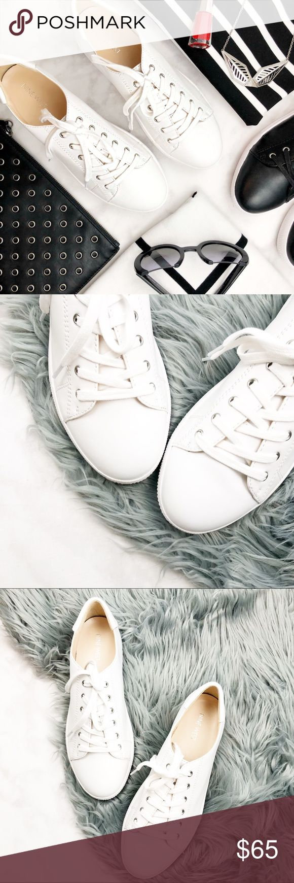 White Leather Minimalist Sneakers Details: * Size 8.5 * True to size  * Leather  * New in box Nine West Shoes Sneakers