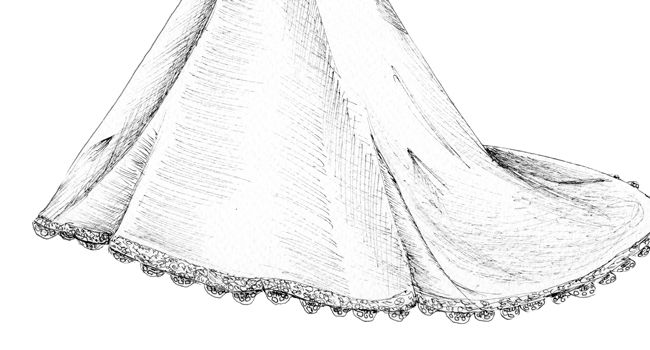 Charlene's Dress – Pen | Pretty as a Picture. Gorgeous sketch of wedding dress by Ailbhe Ryan of Pretty as a Picture. #weddingdress #weddingdresssketch #beautifuldress #prettyasapicture #weddingdressportrait