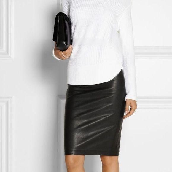 """Helmet Lang black leather pencil skirt Helmut Lang stretch lamb leather pencil skirt. Approx. 24.5""""L from top of skirt to hem. Knit waistband. Back vent (approx. 7.5""""L). Fitted. Imported. Helmut Lang Skirts Pencil"""