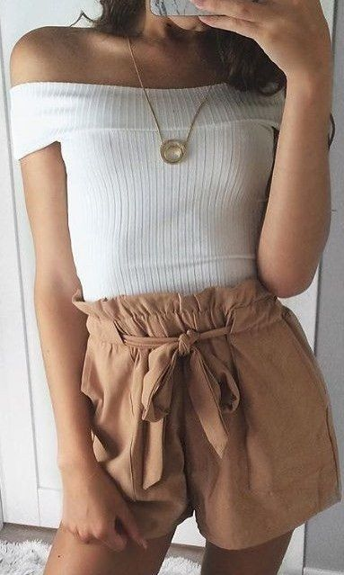 #summer #elegant #feminine | White Top + Camel Shorts