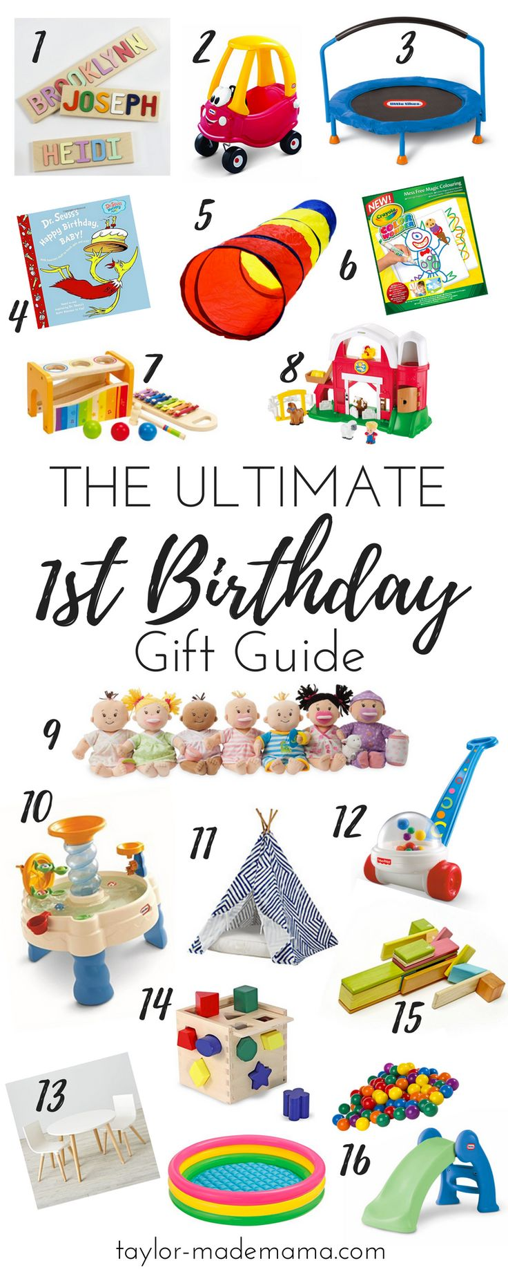 The top toys to buy for a one year old. Your Ultimate 1st Birthday gift guide - for boys or girls!