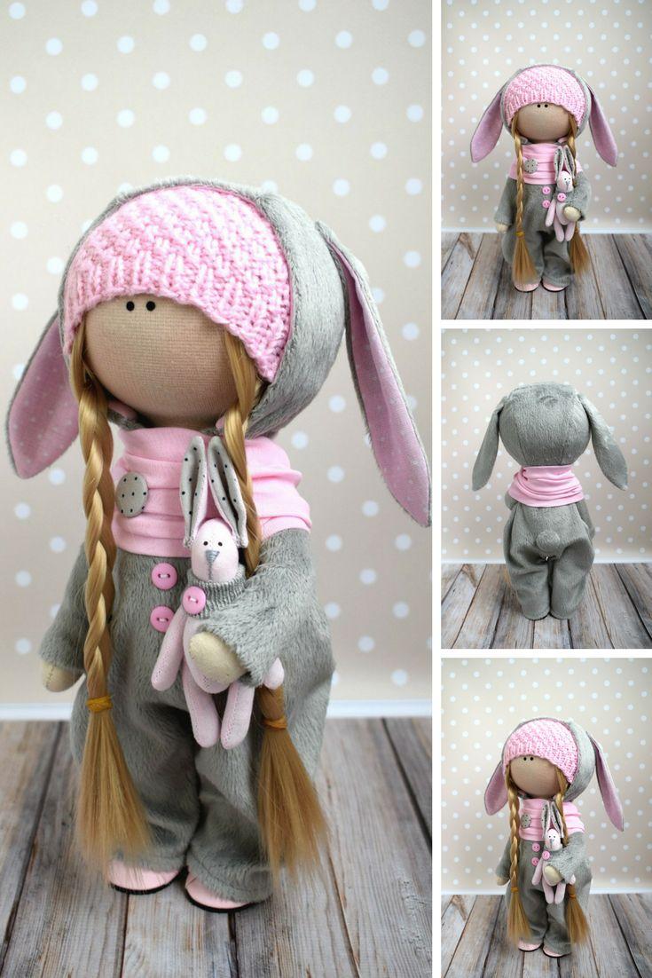 Bunny Art Doll Pink Gift Doll Tilda Baby Doll Handmade Soft Doll Nursery Decor Special Doll Fabric Rag Doll Textile Cloth Doll by Evgenia