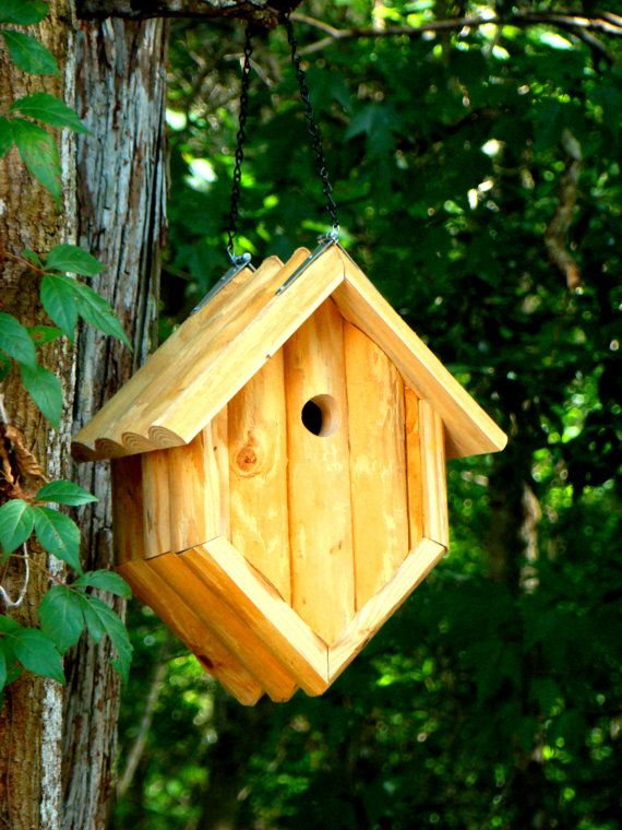 Rustic Pine Log Hanging Birdhouse Use As By