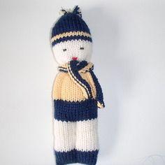 Bambolotto in lana merino giallo e blu