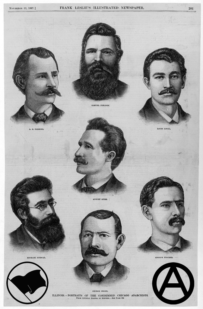 """The history of the world holiday on the 1st May - May Day, or International Workers Day, held in commemoration of four anarchists executed for struggling for an 8-hour day.""  http://libcom.org/history/1886-haymarket-martyrs-mayday"