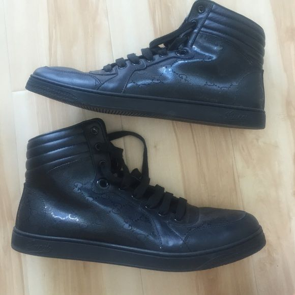 Gucci Sneaker Used Men's Gucci Sneaker Black with double G logo.  Size 8 men's Gucci Shoes Sneakers