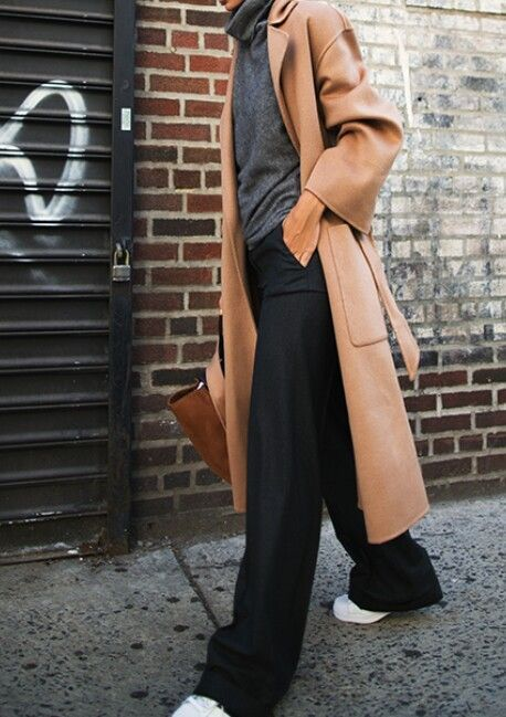 Long camel coat, grey polo neck, wide-leg black trousers & trainers | @styleminimalism