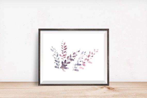 Purple Leaves Watercolor Art Print Instant Digital Download