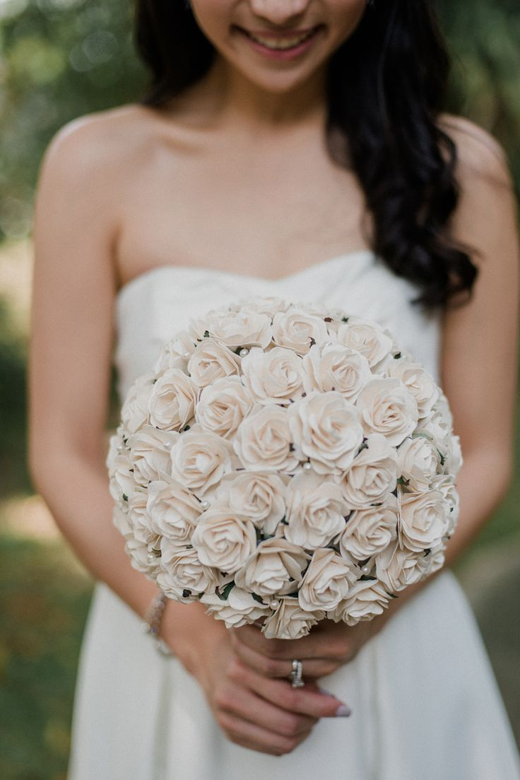 Paper flower bridal bouquet from Charming Solemnisation at Skyve Wine Bistro feature