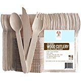 "Amazon.com: Perfect Stix Green Cutlery 100ct Wooden Disposable Cutlery Kit of 50 Forks, 25 Spoons, 25 Knives, 6"" Length (Pack of 100): Industrial & Scientific"