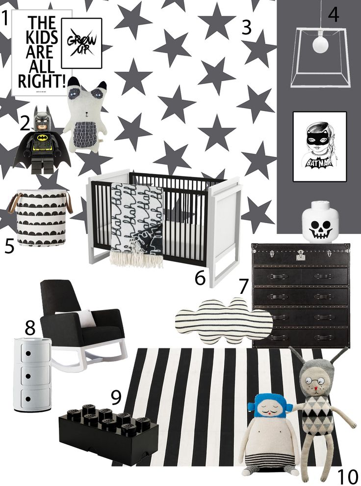A black and white nursery inspiration board featuring the Joya Rocker in black with white base by Monte Design. SISSY + MARLEY black and white nursery