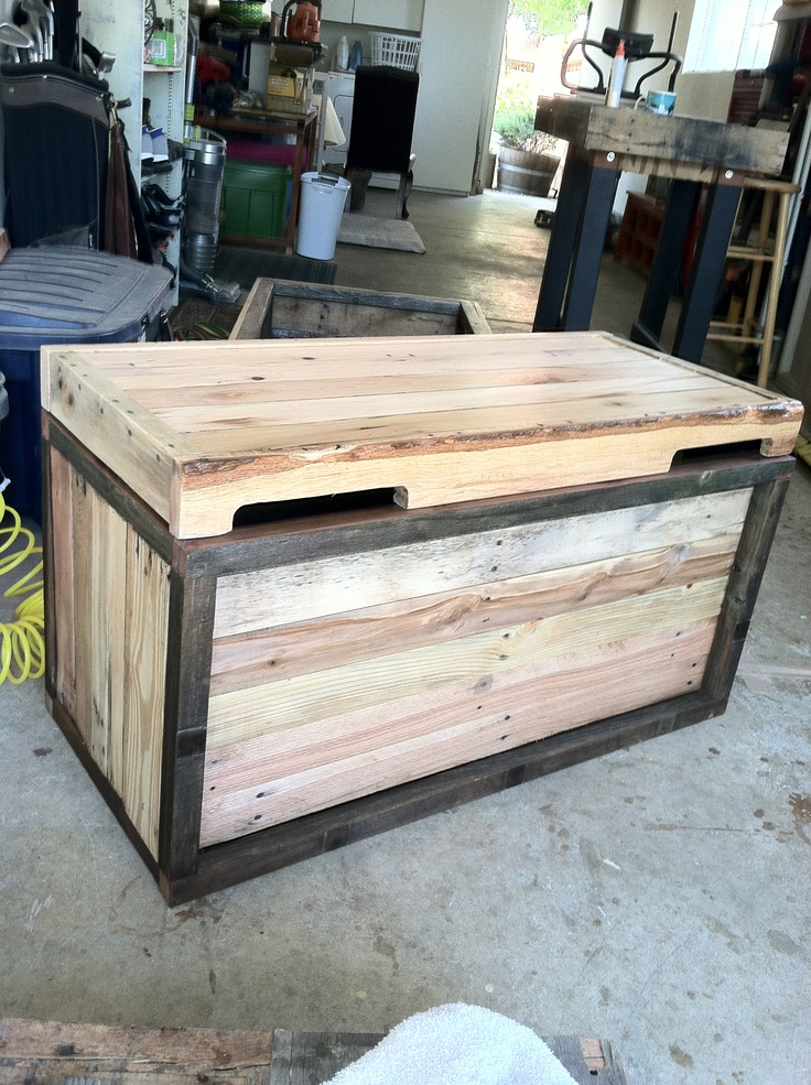 Another trunk or blanket box made from pallets and for Reclaimed wood decking