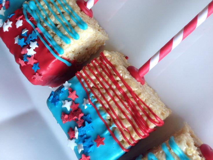 Fourth of July Rice Crispy Treats #wonderfullymadeevents #nataliekmudd #redwhiteblue