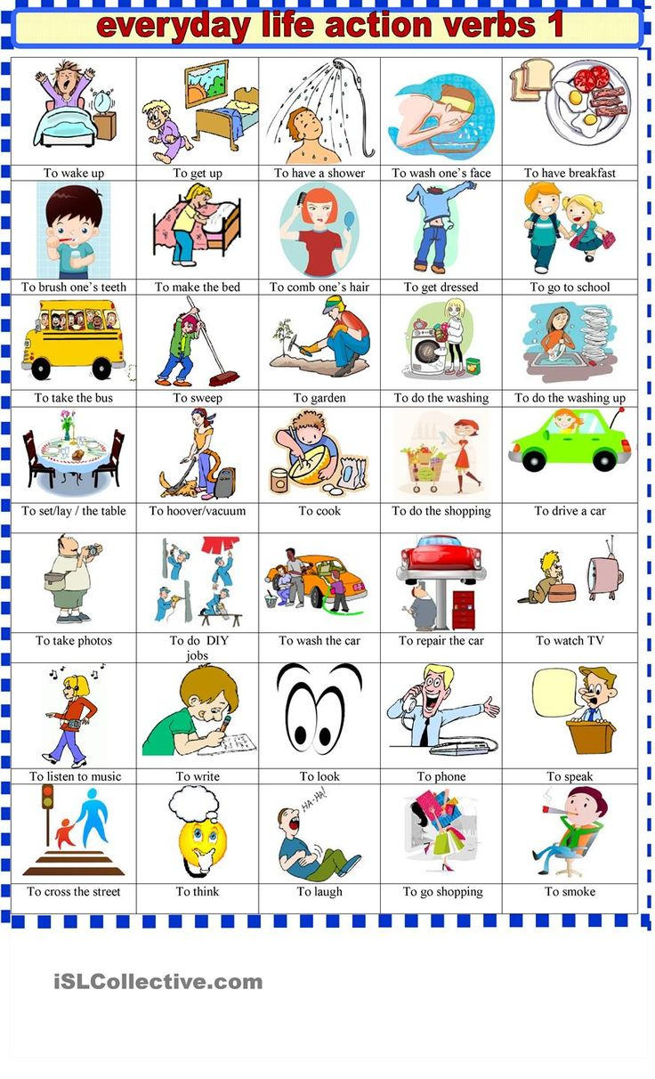Everyday  life action verbs 1