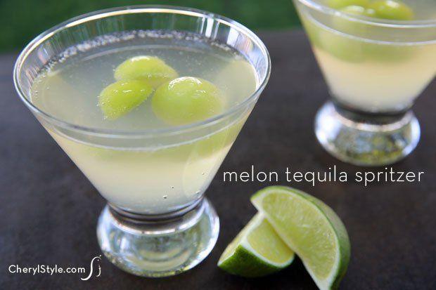 Frozen melon lime cocktail recipe with melon balls - CherylStyle