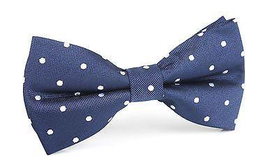Men's Bowtie Men Tuxedo Bow Tie Formal Bowties Navy Blue Polka Dots X325-BT