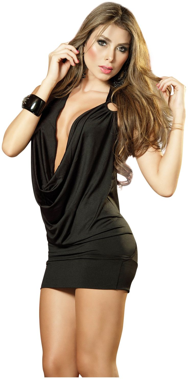 Espiral Deep V Front Party Dress Black Small Exotic